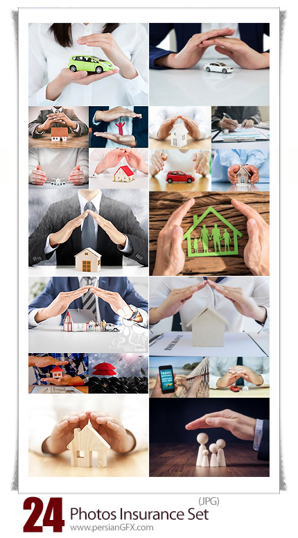 دانلود تصاویر با کیفیت بیمه، بیمه ماشین، بیمه خانه، بیمه سلامتی و ... - Photos Insurance Set