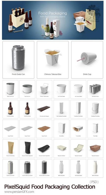 دانلود مجموعه تصاویر لایه باز بسته بندی مواد غذایی، فست فود، بطری، کنسرو و ... - PixelSquid Food Packaging Collection