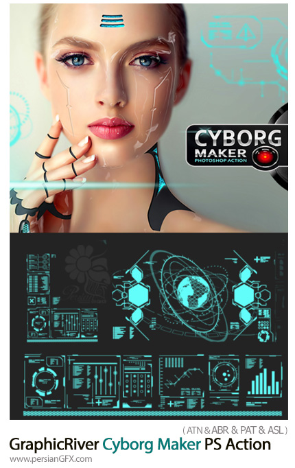 دانلود اکشن فتوشاپ ساخت تصاویر سایبورگ از گرافیک ریور - GraphicRiver Cyborg Maker PS Action