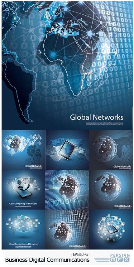 دانلود تصاویر وکتور ارتباطات دیجیتالی تجاری - Business Digital Communications