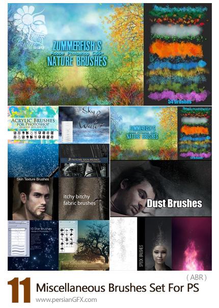 دانلود مجموعه براش فتوشاپ متنوع گرد و غبار، طبیعت، پوست، درخت، ستاره و ... - 11 Miscellaneous Brushes Set For Photoshop