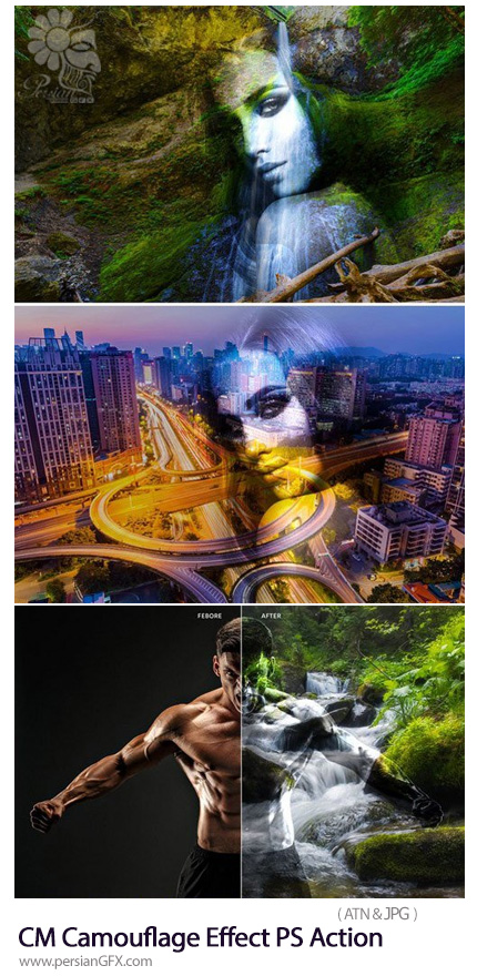 دانلود اکشن فتوشاپ استتار تصاویر با پس زمینه به همراه آموزش ویدئویی - CM Camouflage Effect Photoshop Action