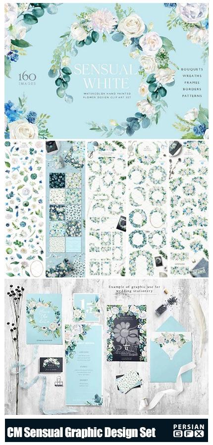 دانلود مجموعه کلیپ آرت عناصر تزئینی، پترن و فریم گلدار - CM Sensual Essence Graphic Design Set