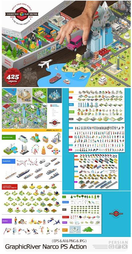 دانلود تصاویر وکتور المان های شهری ایزومتریک، وسایل حمل و نقل، منظره، مردم و ... - CM Isometric Flat World Collection v.1