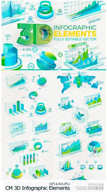 دانلود تصاویر وکتور عناصر طراحی نمودارهای اینفوگرافیکی سه بعدی - CM 3D Corporate Infographic Elements