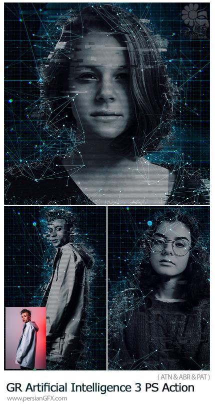 دانلود اکشن فتوشاپ ایجاد افکت هوش مصنوعی بر روی تصاویر به همراه آموزش ویدئویی از گرافیک ریور - GraphicRiver Artificial Intelligence 3 Photoshop Action