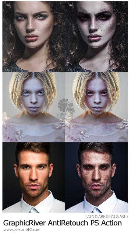 دانلود اکشن فتوشاپ ساخت تصاویر بدون روتوش و کثیف به همراه آموزش ویدئویی از گرافیک ریور - GraphicRiver AntiRetouch Photoshop Action