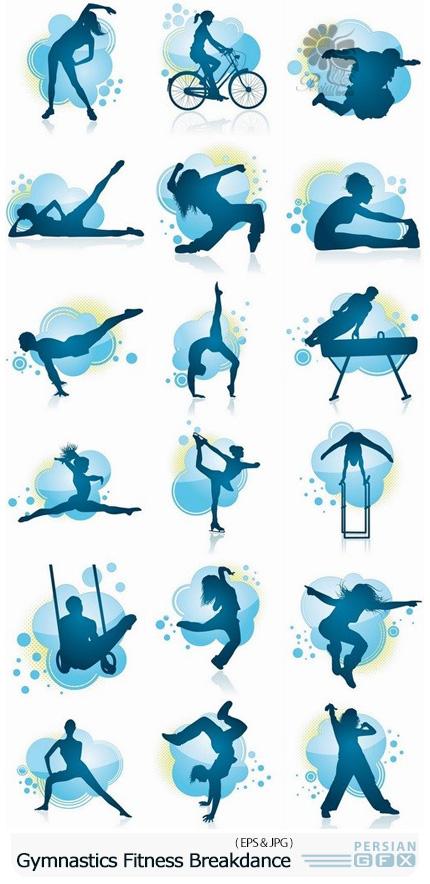 دانلود تصاویر وکتور سایه حرکات ورزشی ژیمیناستیک و رقص بریک - Gymnastics Fitness Dance Breakdance