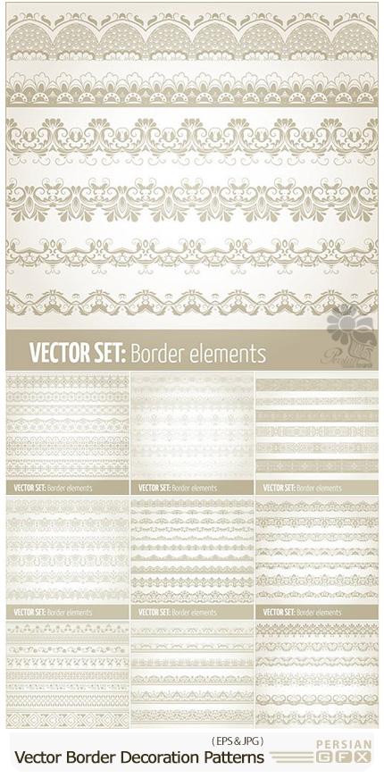 دانلود مجموعه تصاویر وکتور حاشیه های متنوع با پترن تزئینی - Vector Set Border Decoration Elements Patterns