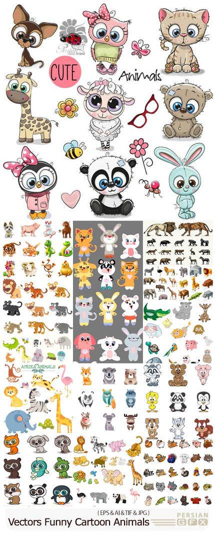 دانلود مجموعه وکتور حیوانات کارتونی بامزه - Vectors Funny Cartoon Animals 01
