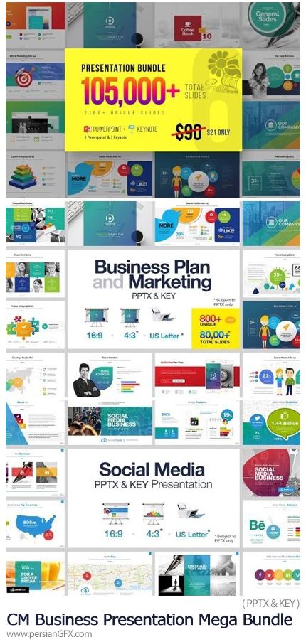 دانلود مجموعه قالب های آماده تجاری پاورپوینت و کینُت - CM Business Presentation Mega Bundle