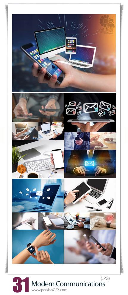 دانلود تصاویر با کیفیت ارتباطات مدرن، تلفن، اینترنت و دستگاه های دیجیتالی هوشنمد - Photos Modern Communications
