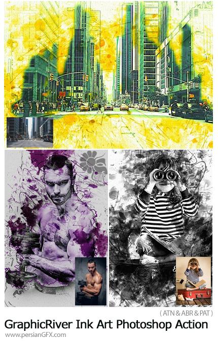 دانلود اکشن فتوشاپ ساخت تصاویر هنری با افکت جوهری از گرافیک ریور - GraphicRiver Ink Art Photoshop Action