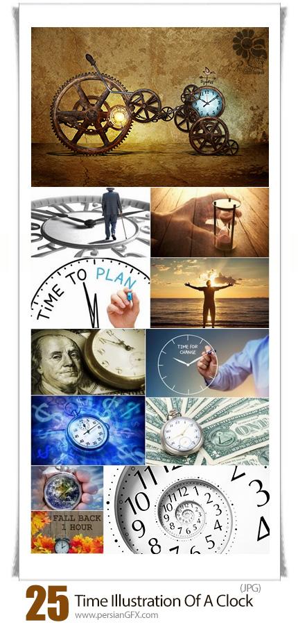 دانلود تصاویر با کیفیت مفهومی زمان و ساعت های متنوع - Time Conceptual Illustration Of A Clock Dial Is