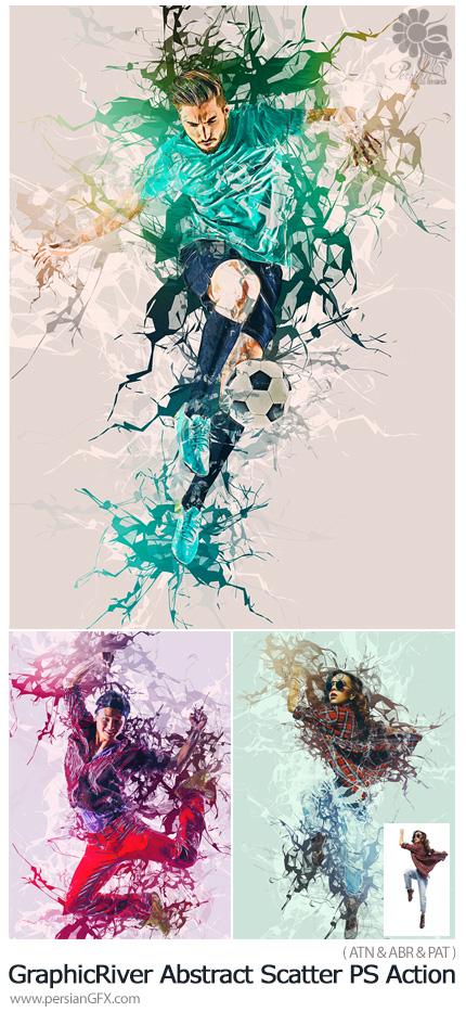 دانلود اکشن فتوشاپ ایجاد افکت رنگ های پاشیده شده انتزاعی بر روی تصاویر به همراه آموزش ویدئویی از گرافیک ریور - GraphicRiver Abstract Scatter Photoshop Action
