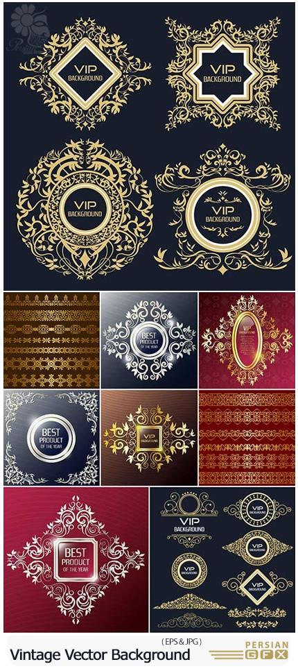 دانلود تصاویر وکتور بک گراند تزئینی فلایر و حاشیه های گلدار طلایی - Vintage Vector Background Flyer Design Template Gold Borders