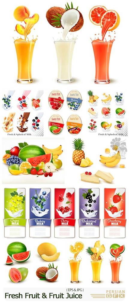 دانلود تصاویر وکتور میوه و آبمیوه های تازه متنوع - Fresh Fruit And Fruit Juice Splash In A Glass