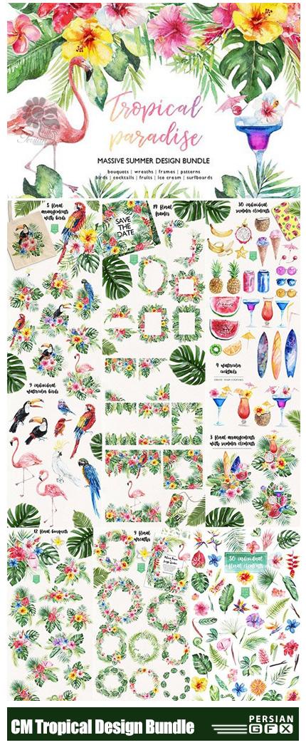 دانلود مجموعه کلیپ آرت عناصر طراحی تابستانی، گل و بوته، فریم گلدار، دسته گل، پترن گلدار و ... - CM Tropical Paradise Design Bundle
