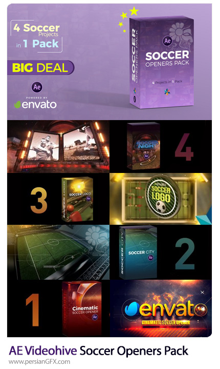 دانلود پک آماده افترافکت اوپنر فوتبالی به همراه آموزش ویدئویی از ویدئوهایو - Videohive Soccer Openers Pack