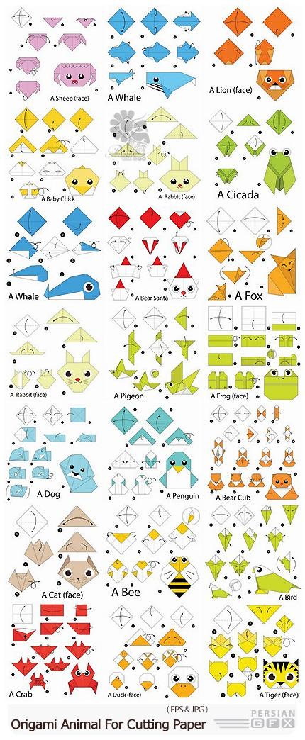 دانلود مجموعه تصاویر وکتور برش کاغذ طرح های اوریگامی حیوانات - Origami Animal For Cutting And Folding Paper