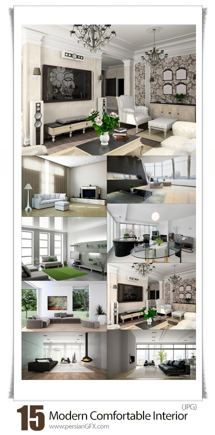 دانلود تصاویر با کیفیت طراحی داخلی خانه، اتاق خواب، سالن نشیمن و پذیرایی به سبک ساده و مدرن - Modern Comfortable Interior