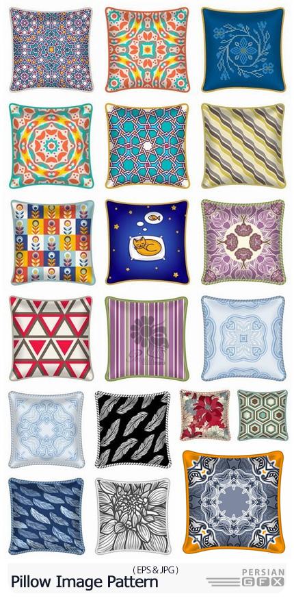 دانلود مجموعه پترن وکتور با طرح های فانتزی متنوع برای بالشت و طراحی داخلی - Pillow Image Pattern Example Template Interior Bed
