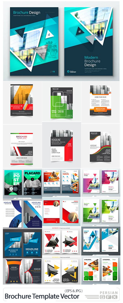 دانلود مجموعه قالب آماده وکتور بروشورهای تجاری با طرح های متنوع - Brochure Template Vector