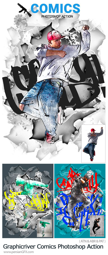 دانلود اکشن فتوشاپ ساخت تصاویر کمیک با افکت بیرون زدگی از گرافیک ریور - Graphicriver Comics Photoshop Action