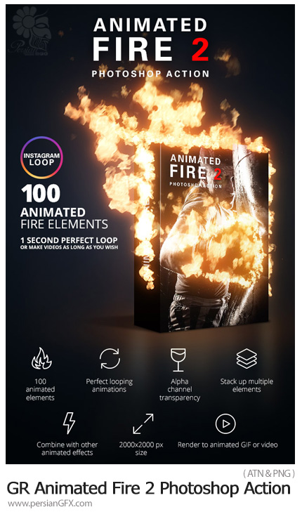 دانلود اکشن فتوشاپ ایجاد افکت شعله های آتش متحرک بر روی تصاویر از گرافیک ریور - Graphicriver Animated Fire 2 Photoshop Action