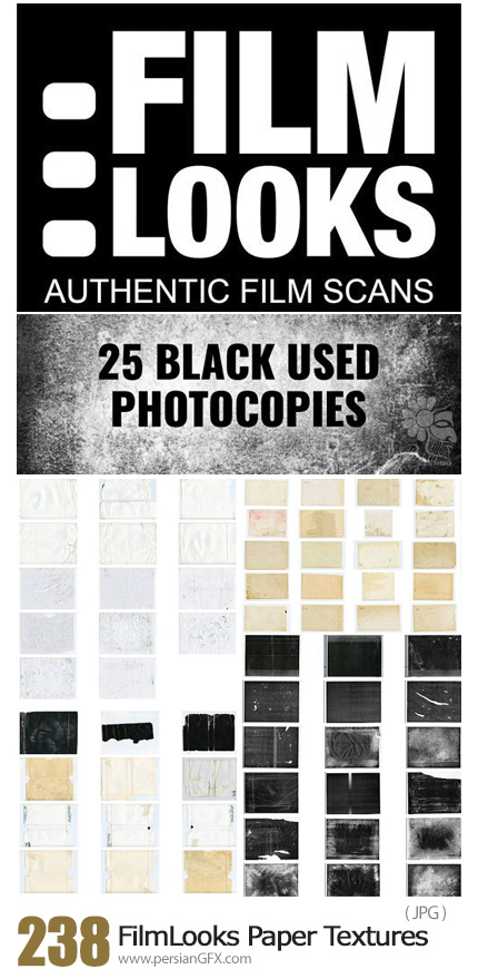 دانلود 238 تکسچر کاغذی قدیمی با کیفیت بالا - FilmLooks 238 Amazing Paper Textures