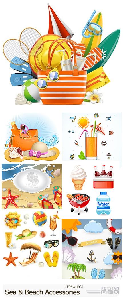 دانلود تصاویر وکتور المان های تعطیلات تابستانی، ساحل، بستنی، چتر آفتابگیر، کرم ضد آفتاب و ... - Summer Holiday By Sea And Beach Accessories