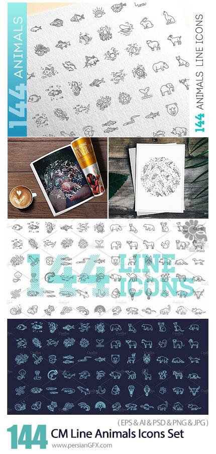 دانلود مجموعه آیکون وکتور حیوانات مختلف پرندگان، آبزیان، وحشی و ... - CM Line Animals Consepts Icons Set