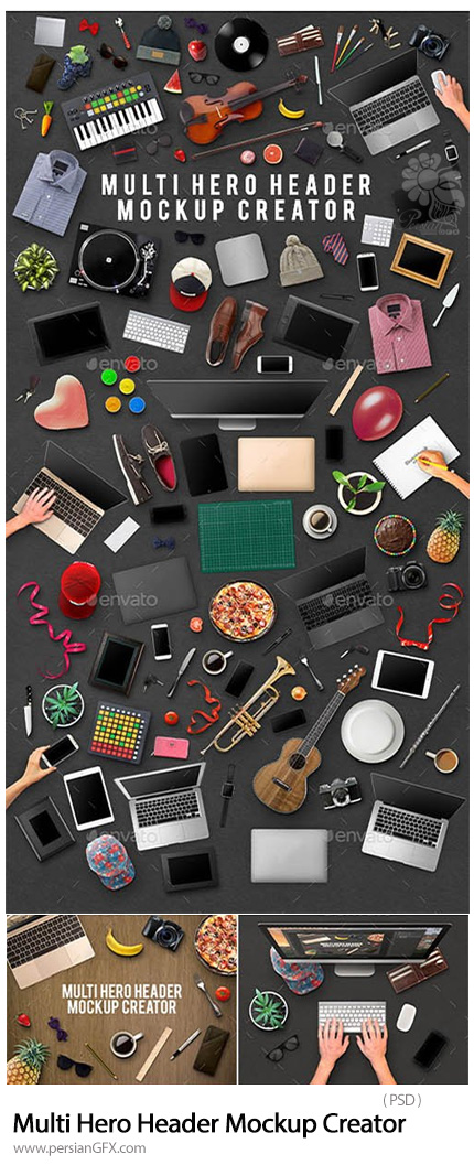 دانلود موکاپ آبجکت های متنوع، دستگاه های دیجیتالی، آلات موسیقی، پوشاک و ... - Multi Hero Header Mockup Creator