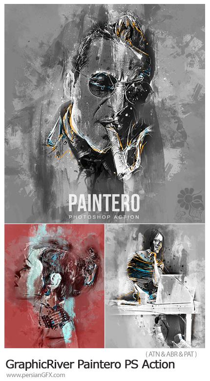 دانلود اکشن فتوشاپ تبدیل تصاویر به نقاشی انتزاعی به همراه آموزش ویدئویی از گرافیک ریور - GraphicRiver Paintero Photoshop Action