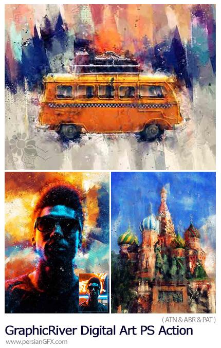 دانلود اکشن فتوشاپ ساخت تصاویر هنری دیجیتالی به همراه آموزش ویدئویی از گرافیک ریور - GraphicRiver Digital Art Photoshop Action