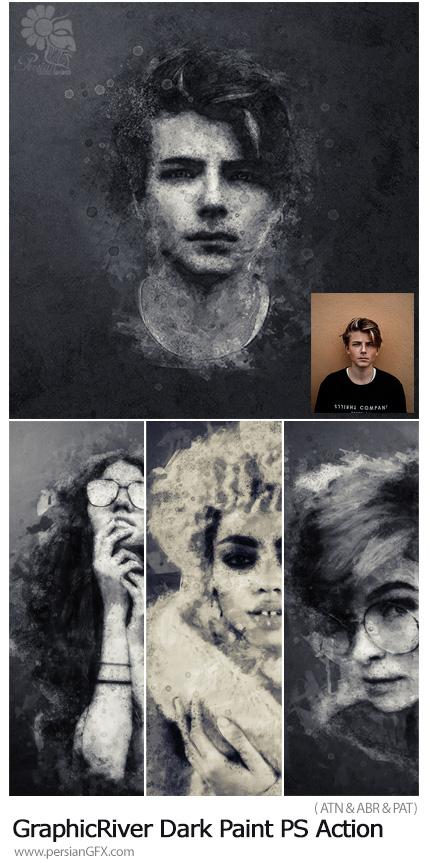 دانلود اکشن فتوشاپ تبدیل تصاویر به نقاشی تیره از گرافیک ریور - GraphicRiver Dark Paint Photoshop Action