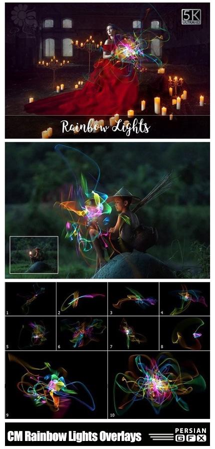 دانلود کلیپ آرت نورهای رنگین کمان با کیفیت 5K - CM 5K Rainbow Lights Overlays