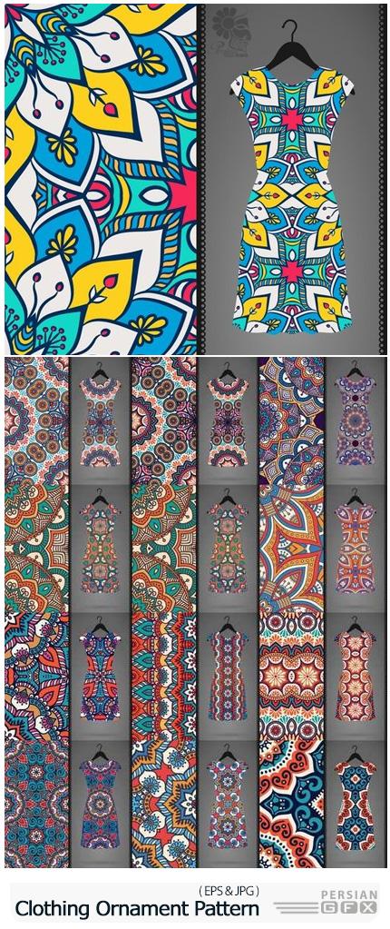دانلود مجموعه پترن وکتور طرح های تزئینی لباس - Dress Clothing Indian Ethnic Ornament Pattern Mandala Image Banner