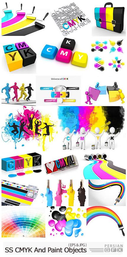 دانلود مجموعه وکتور و تصاویر با کیفیت رنگ های CMYK، دستگاه چاپ، پالت رنگ و ... - ShutterStock CMYK And Paint Objects