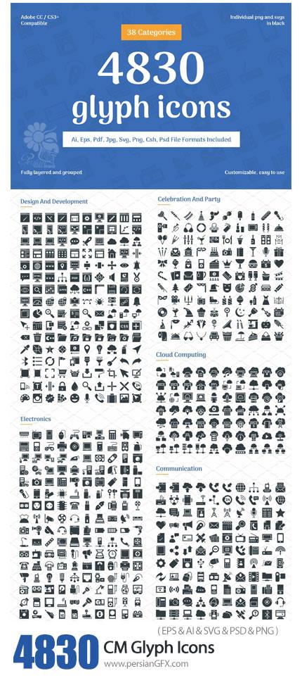 دانلود 4830 آیکون وکتور متنوع - CreativeMarket 4830 Glyph Icons