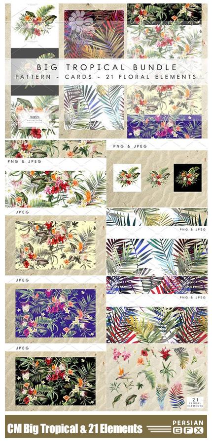 دانلود مجموعه کلیپ آرت عناصر طراحی گل و گیاه متنوع - CM Big Tropical Bundle And 21 Elements