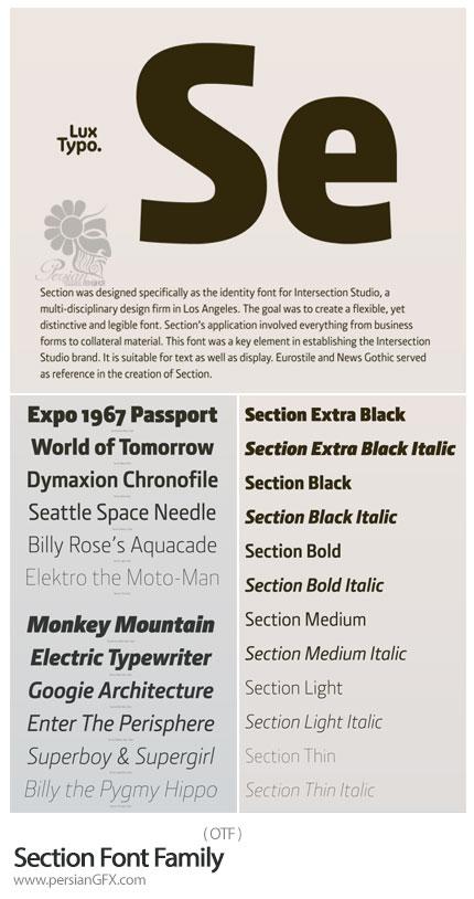 دانلود فونت انگلیسی Section با استایل نازک تا ضخیم - Section Font Family