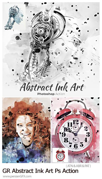 دانلود اکشن فتوشاپ ساخت تصاویر هنری انتزاعی با افکت لکه های جوهری از گرافیک ریور - GraphicRiver Abstract Ink Art Photoshop Action