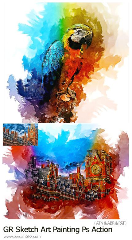 دانلود اکشن فتوشاپ تبدیل تصاویر به نقاشی هنری از گرافیک ریور - GraphicRiver Sketch Art Painting Photoshop Action
