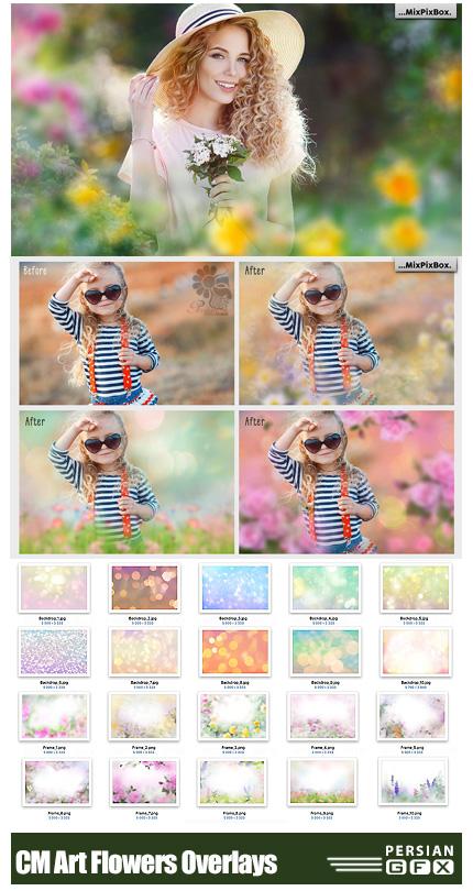 دانلود 20 کلیپ آرت فریم گل و افکت بوکه های نورانی - CreativeMarket Art Flowers Photo Overlays