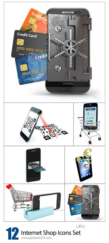 دانلود آیکون های با کیفیت خرید اینترنتی، کارت اعتباری، QR کد و سبد خرید اینترنتی - Internet Shop Icons Set
