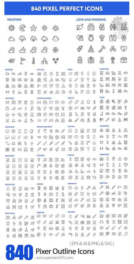 دانلود 840 آیکون وکتور متنوع - Pixer Outline Icons