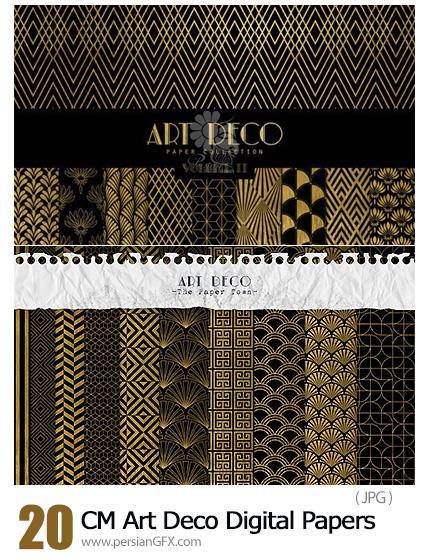 دانلود 20 بک گراند هنری مشکی و طلایی - CM Art Deco Digital Papers