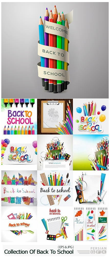 دانلود وکتور بازگشت به مدرسه - Collection Of Back To School Pencil Pen Line Flyer Banner