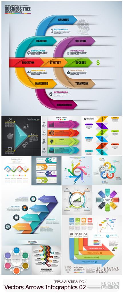 دانلود وکتور بک گراند نمودارهای فلش اینفوگرافیکی - Vectors Arrows Infographics Backgrounds 02